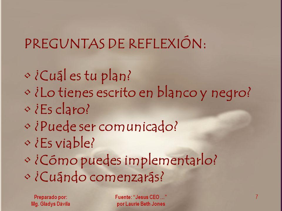 PREGUNTAS DE REFLEXIÓN: ¿Cuál es tu plan.¿Lo tienes escrito en blanco y negro.