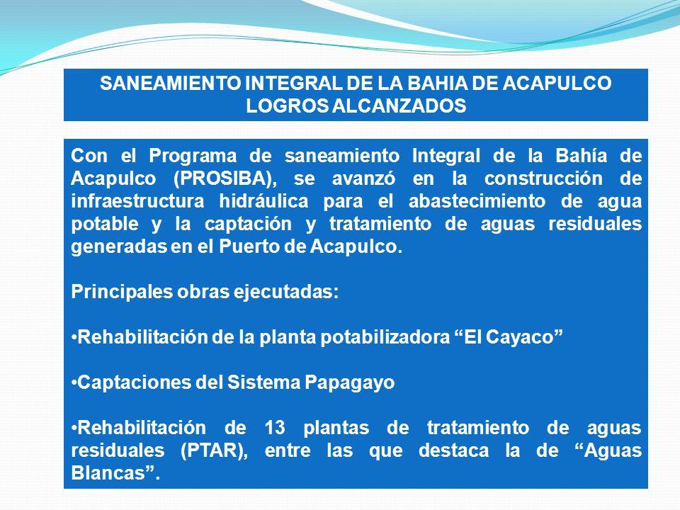 SANEAMIENTO INTEGRAL DE LA BAHIA DE ACAPULCO LOGROS ALCANZADOS Con el Programa de saneamiento Integral de la Bahía de Acapulco (PROSIBA), se avanzó en