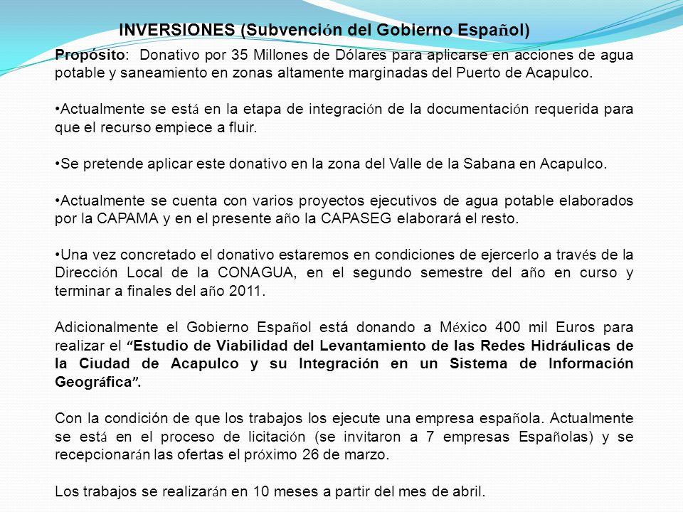 Propósito: Donativo por 35 Millones de Dólares para aplicarse en acciones de agua potable y saneamiento en zonas altamente marginadas del Puerto de Ac