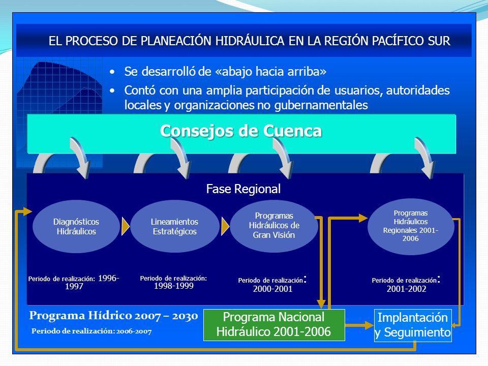 Programa Hídrico 2007 – 2030 Periodo de realización: 2006-2007 EL PROCESO DE PLANEACIÓN HIDRÁULICA EN LA REGIÓN PACÍFICO SUR Se desarrolló de «abajo h