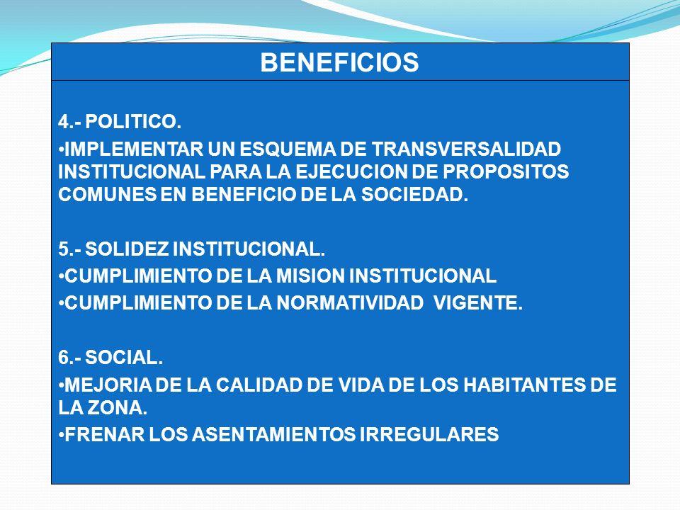 4.- POLITICO. IMPLEMENTAR UN ESQUEMA DE TRANSVERSALIDAD INSTITUCIONAL PARA LA EJECUCION DE PROPOSITOS COMUNES EN BENEFICIO DE LA SOCIEDAD. 5.- SOLIDEZ