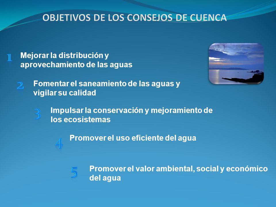 Mejorar la distribución y aprovechamiento de las aguas Fomentar el saneamiento de las aguas y vigilar su calidad Impulsar la conservación y mejoramien