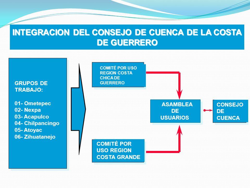 INTEGRACION DEL CONSEJO DE CUENCA DE LA COSTA DE GUERRERO CONSEJO DE CUENCA ASAMBLEA DE USUARIOS ASAMBLEA DE USUARIOS COMITÉ POR USO REGION COSTA CHIC