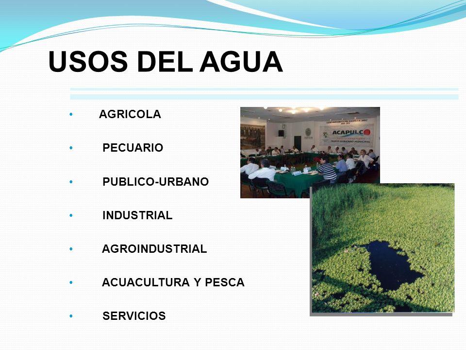 AGRICOLA AGRICOLA PECUARIO PECUARIO PUBLICO-URBANO PUBLICO-URBANO INDUSTRIAL INDUSTRIAL AGROINDUSTRIAL AGROINDUSTRIAL ACUACULTURA Y PESCA ACUACULTURA
