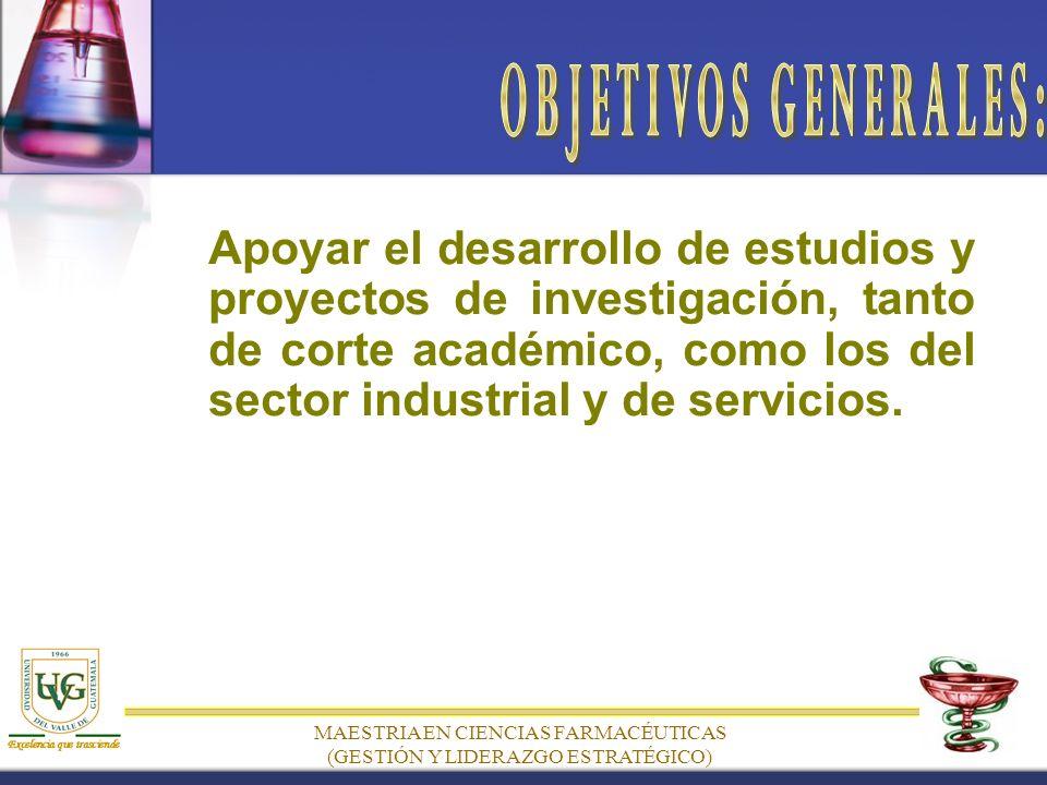 Apoyar el desarrollo de estudios y proyectos de investigación, tanto de corte académico, como los del sector industrial y de servicios.