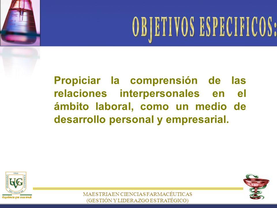 Propiciar la comprensión de las relaciones interpersonales en el ámbito laboral, como un medio de desarrollo personal y empresarial.