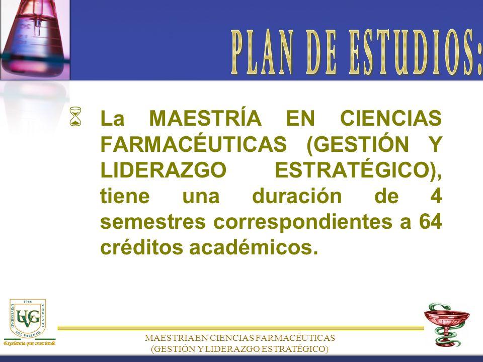 MAESTRIA EN CIENCIAS FARMACÉUTICAS (GESTIÓN Y LIDERAZGO ESTRATÉGICO) L a MAESTRÍA EN CIENCIAS FARMACÉUTICAS (GESTIÓN Y LIDERAZGO ESTRATÉGICO), tiene una duración de 4 semestres correspondientes a 64 créditos académicos.