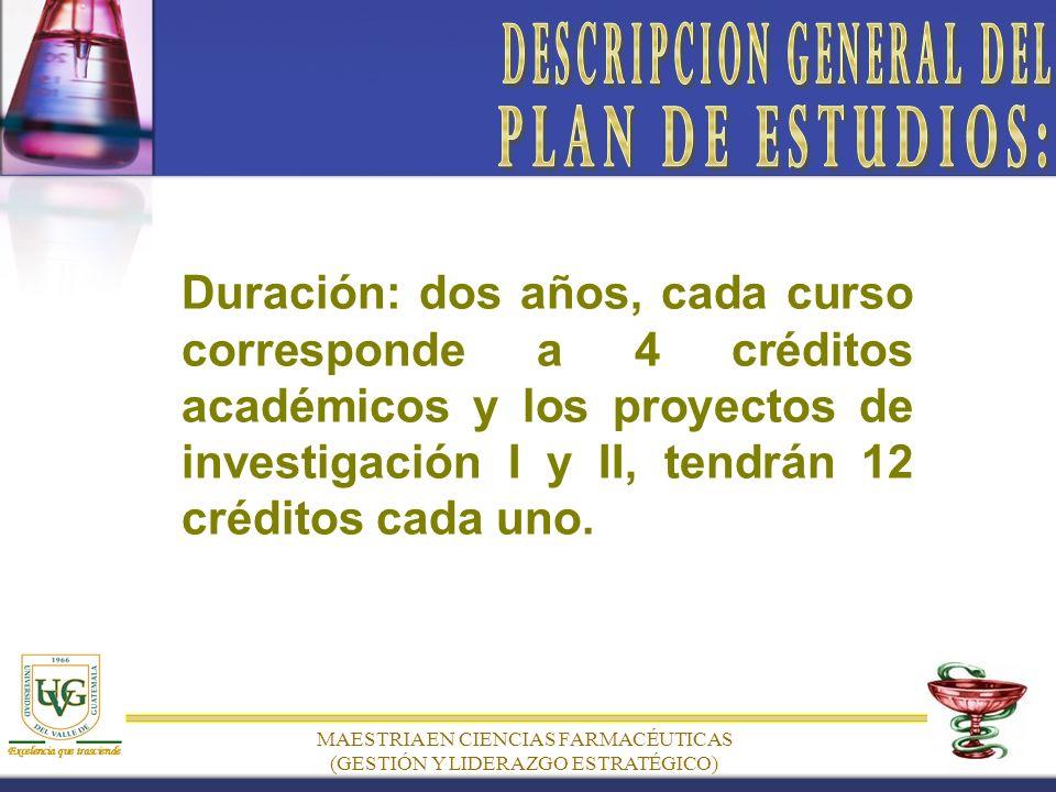 MAESTRIA EN CIENCIAS FARMACÉUTICAS (GESTIÓN Y LIDERAZGO ESTRATÉGICO) Duración: dos años, cada curso corresponde a 4 créditos académicos y los proyectos de investigación I y II, tendrán 12 créditos cada uno.