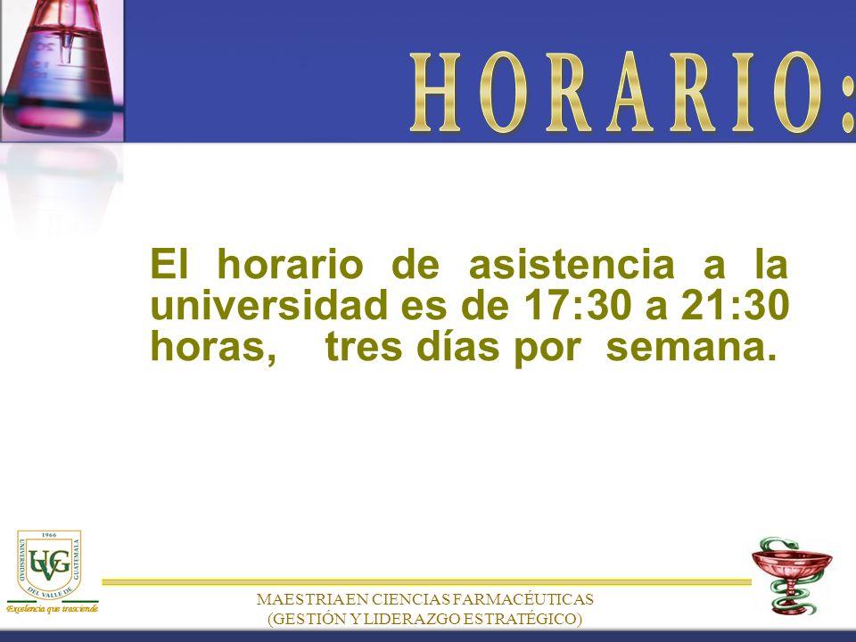 El horario de asistencia a la universidad es de 17:30 a 21:30 horas, tres días por semana.