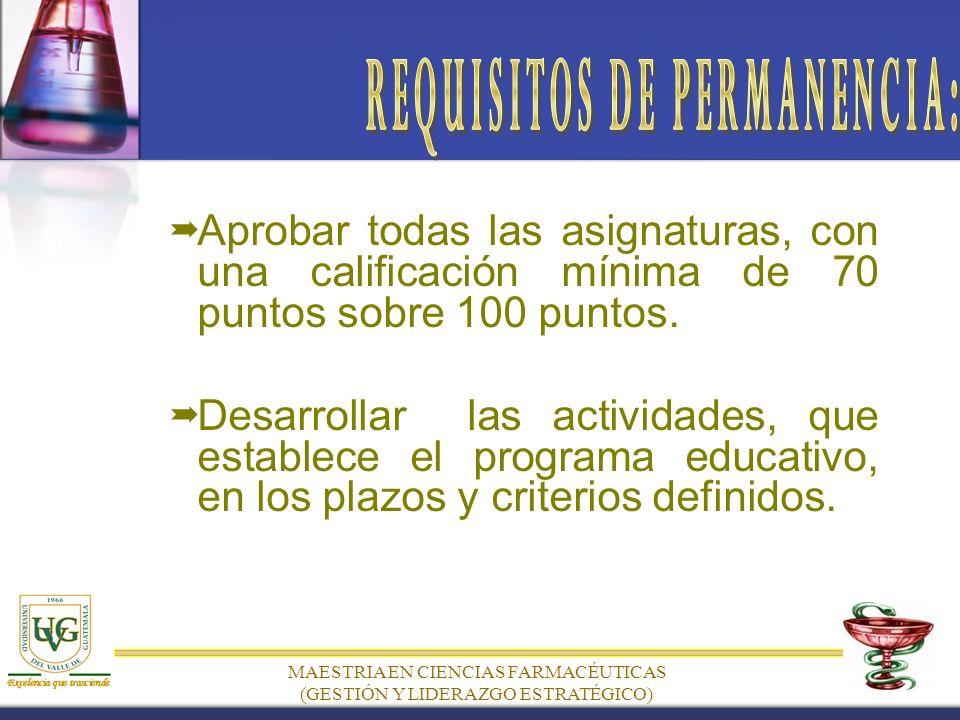 MAESTRIA EN CIENCIAS FARMACÉUTICAS (GESTIÓN Y LIDERAZGO ESTRATÉGICO) Aprobar todas las asignaturas, con una calificación mínima de 70 puntos sobre 100 puntos.