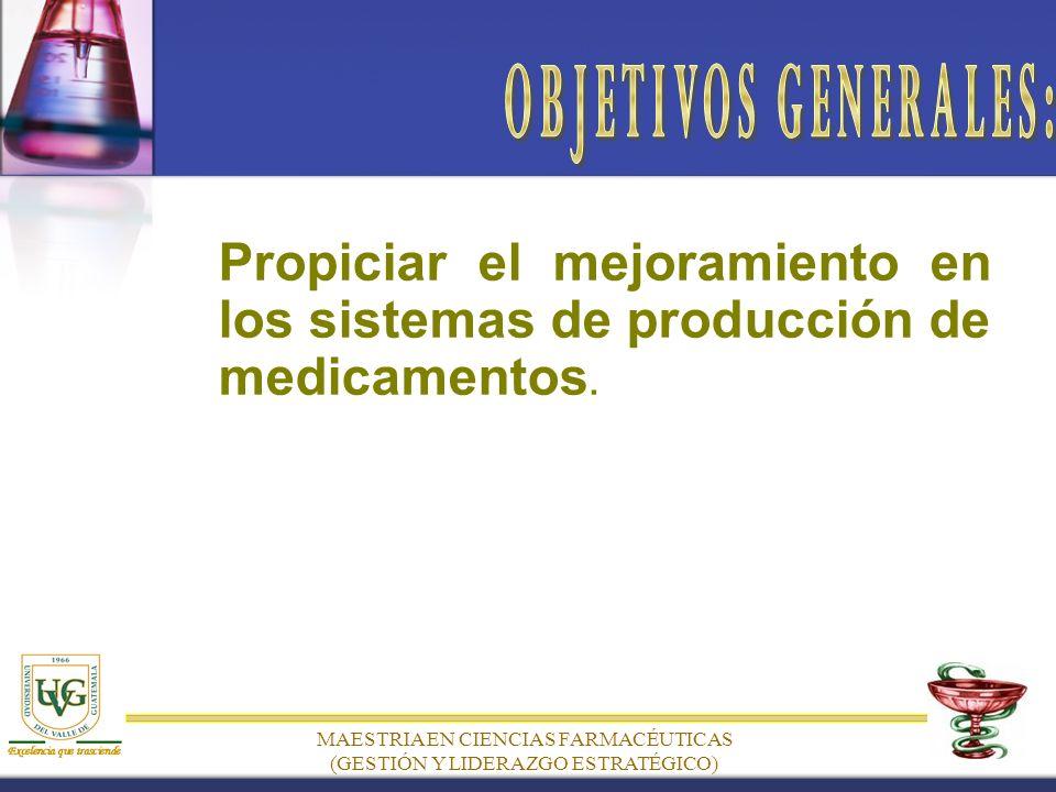 Propiciar el mejoramiento en los sistemas de producción de medicamentos.
