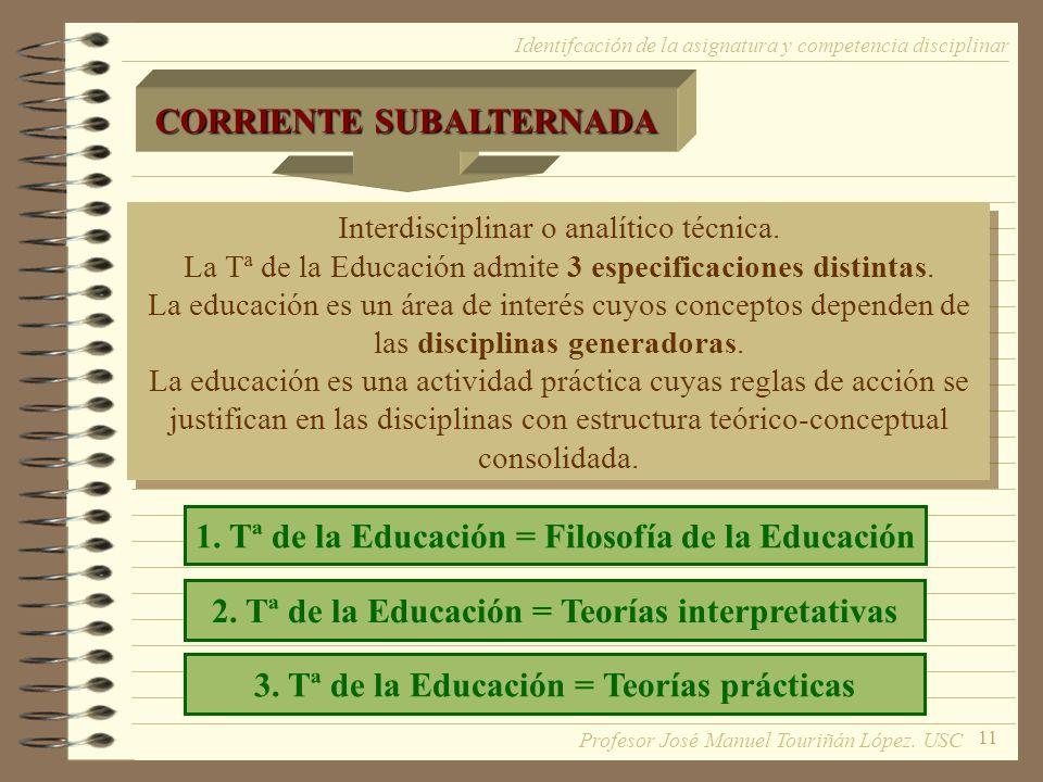 11 Interdisciplinar o analítico técnica. La Tª de la Educación admite 3 especificaciones distintas. La educación es un área de interés cuyos conceptos