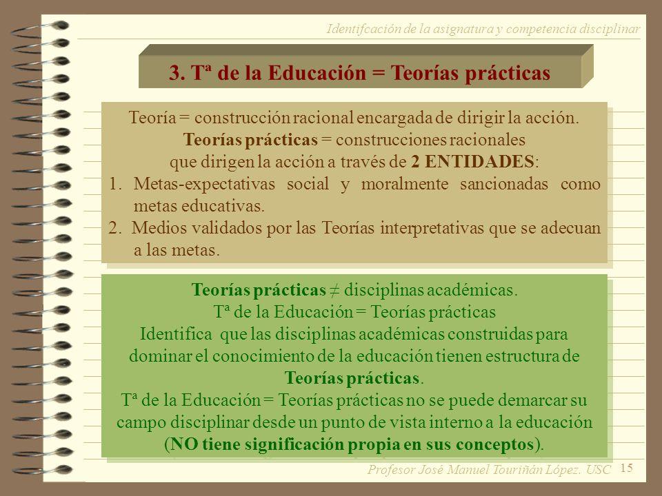 15 3. Tª de la Educación = Teorías prácticas Teoría = construcción racional encargada de dirigir la acción. Teorías prácticas = construcciones raciona