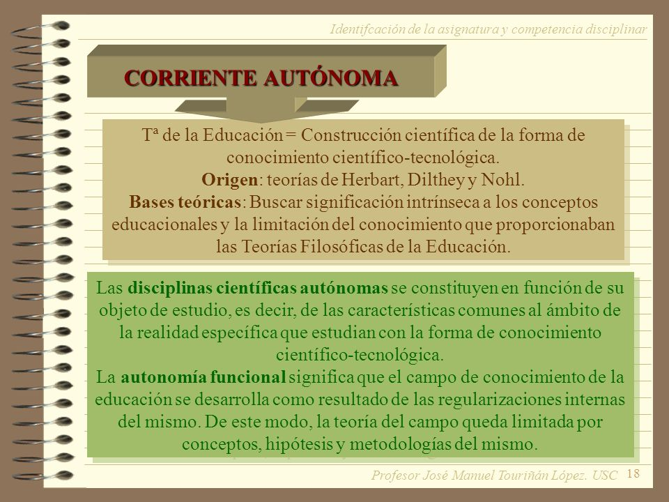 18 Tª de la Educación = Construcción científica de la forma de conocimiento científico-tecnológica. Origen: teorías de Herbart, Dilthey y Nohl. Bases
