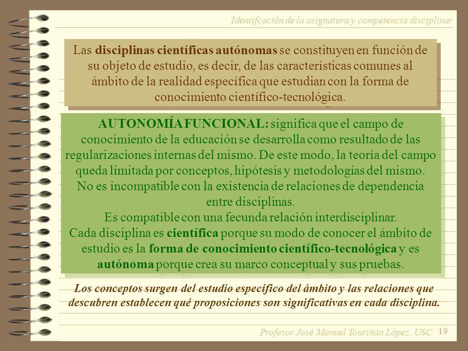 19 Las disciplinas científicas autónomas se constituyen en función de su objeto de estudio, es decir, de las características comunes al ámbito de la r