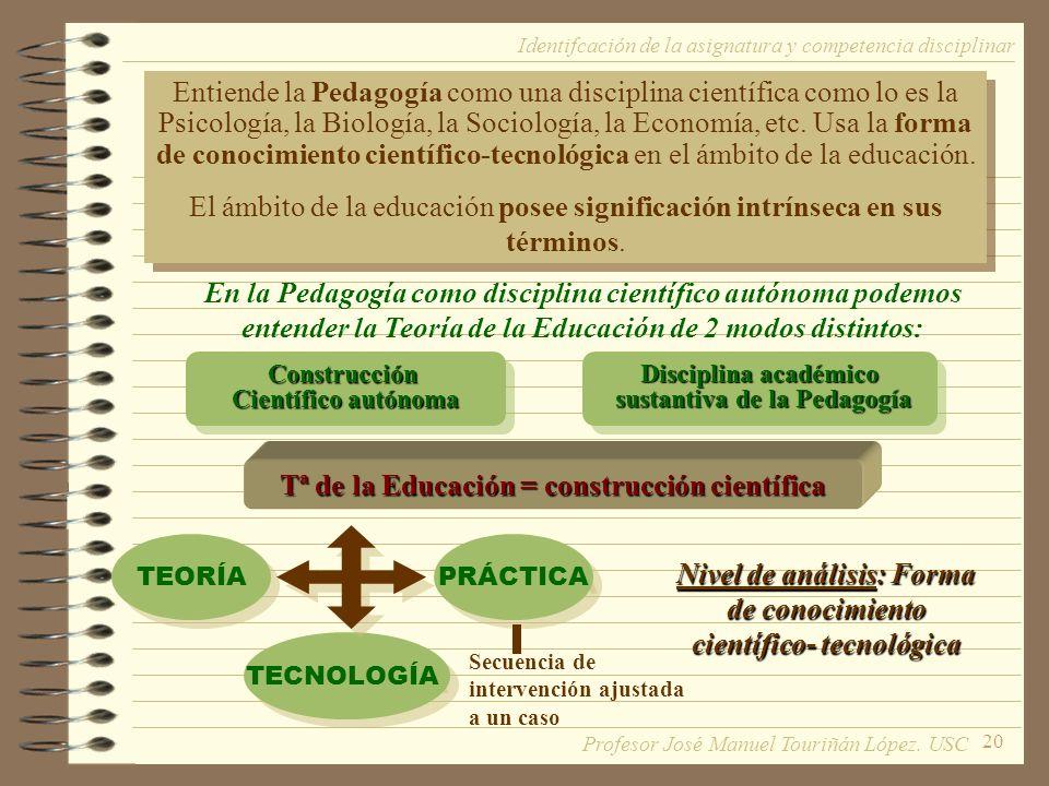 20 Entiende la Pedagogía como una disciplina científica como lo es la Psicología, la Biología, la Sociología, la Economía, etc. Usa la forma de conoci