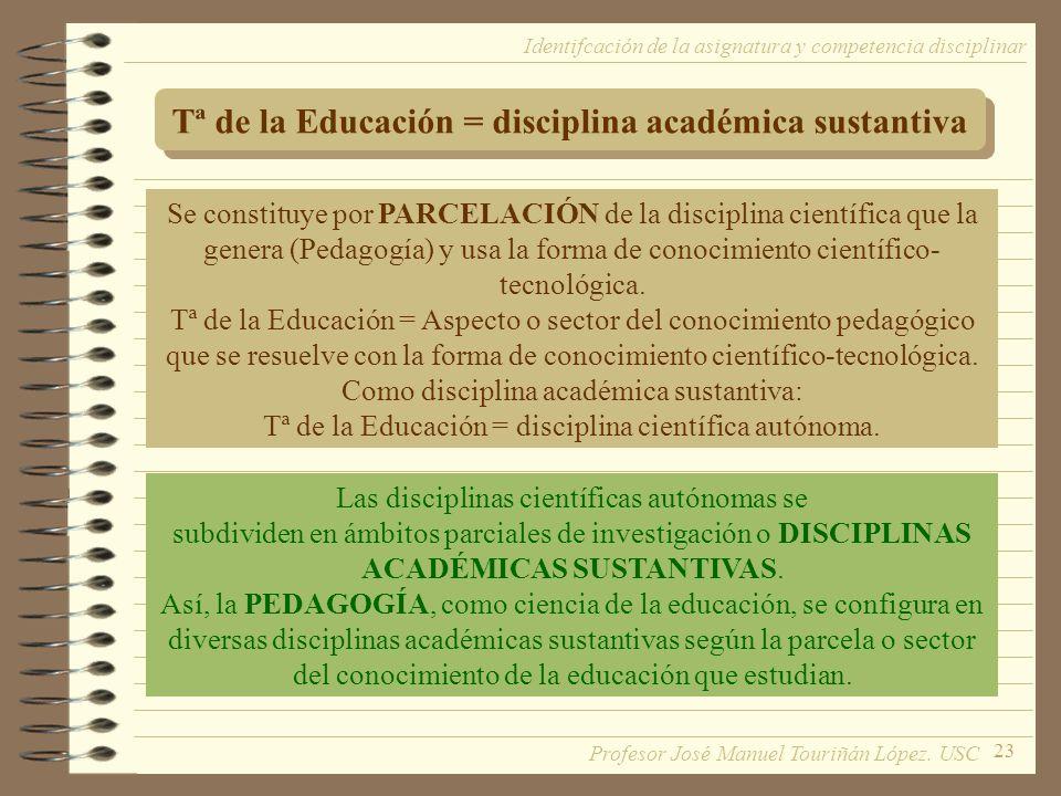 23 Tª de la Educación = disciplina académica sustantiva Se constituye por PARCELACIÓN de la disciplina científica que la genera (Pedagogía) y usa la forma de conocimiento científico- tecnológica.