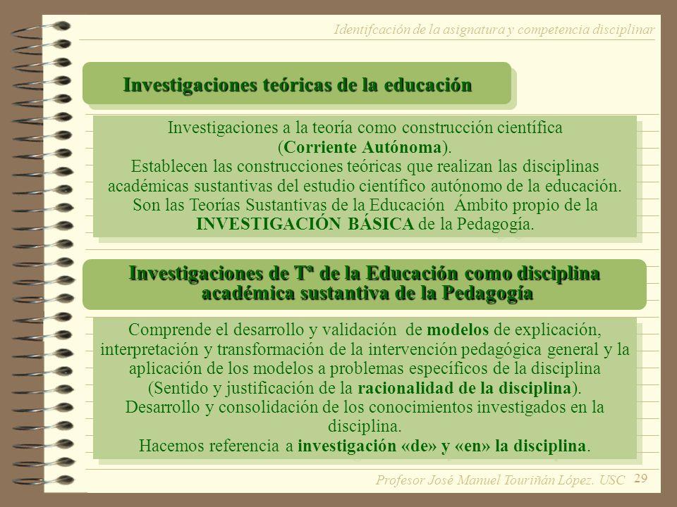 29 Identifcación de la asignatura y competencia disciplinar Investigaciones teóricas de la educación Investigaciones a la teoría como construcción científica (Corriente Autónoma).