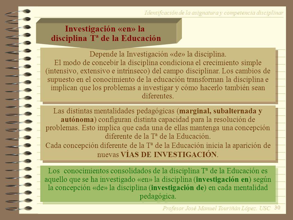 30 Depende la Investigación «de» la disciplina.