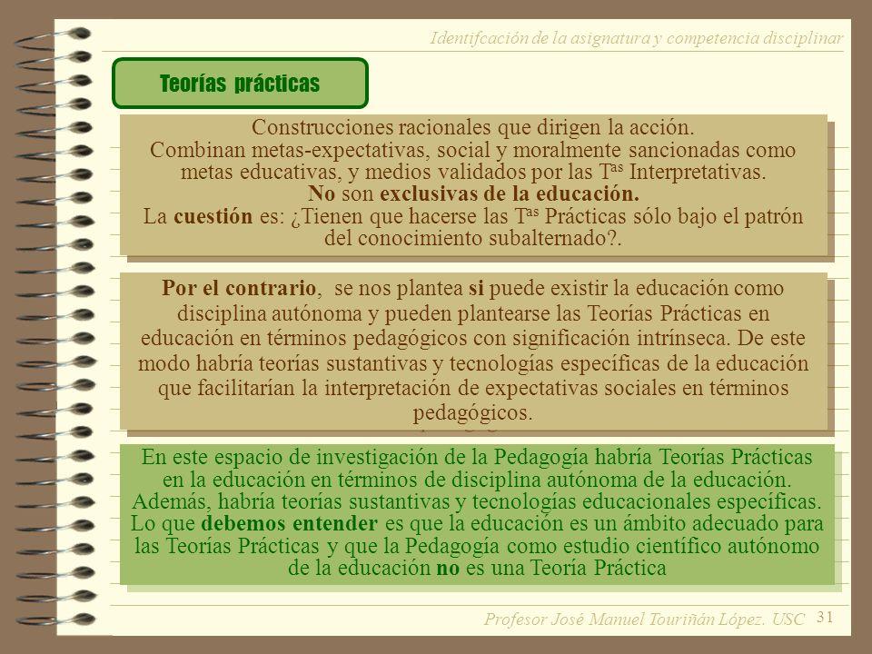 31 Teorías prácticas Construcciones racionales que dirigen la acción. Combinan metas-expectativas, social y moralmente sancionadas como metas educativ