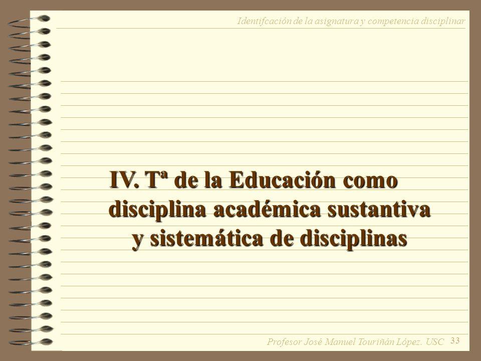 33 IV. Tª de la Educación como disciplina académica sustantiva y sistemática de disciplinas Identifcación de la asignatura y competencia disciplinar P