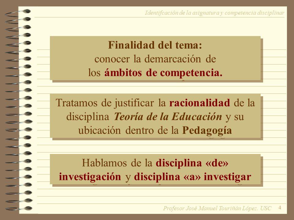 4 Finalidad del tema: conocer la demarcación de los ámbitos de competencia.