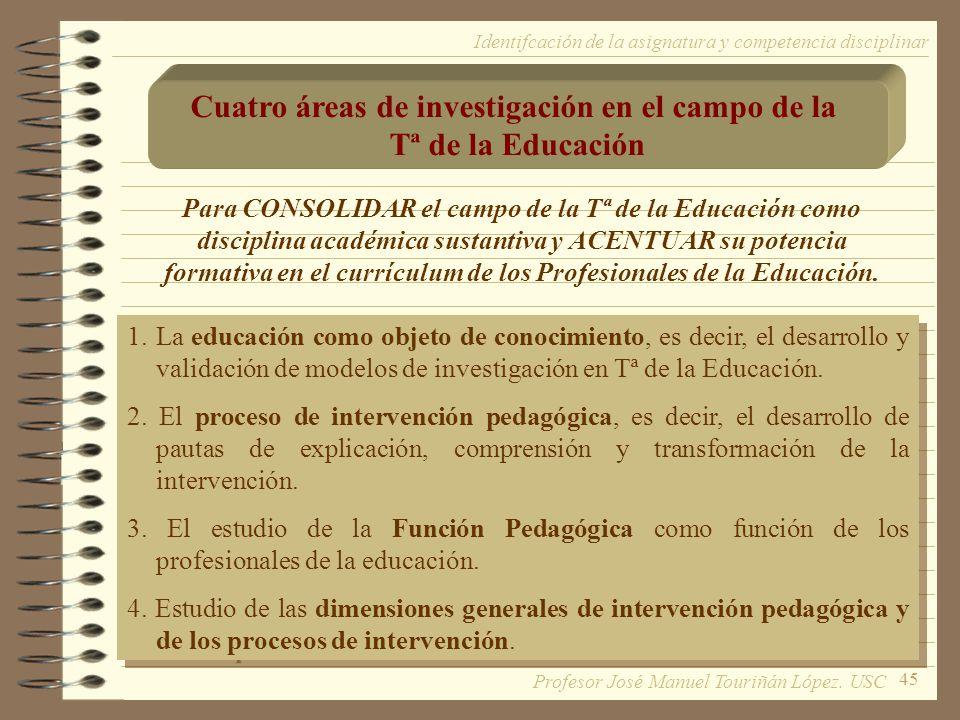 45 Para CONSOLIDAR el campo de la Tª de la Educación como disciplina académica sustantiva y ACENTUAR su potencia formativa en el currículum de los Pro