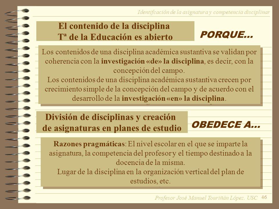 46 El contenido de la disciplina Tª de la Educación es abierto PORQUE... Los contenidos de una disciplina académica sustantiva se validan por coherenc