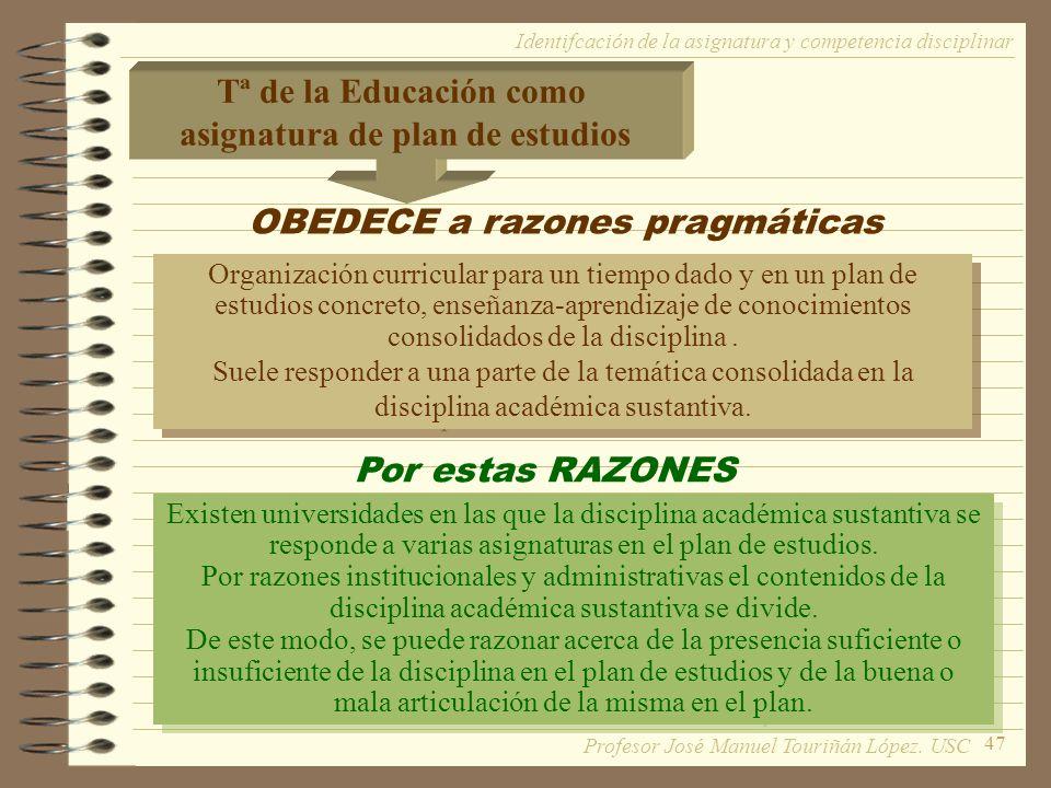 47 Tª de la Educación como asignatura de plan de estudios OBEDECE a razones pragmáticas Organización curricular para un tiempo dado y en un plan de estudios concreto, enseñanza-aprendizaje de conocimientos consolidados de la disciplina.