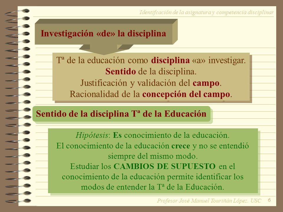 6 Tª de la educación como disciplina «a» investigar. Sentido de la disciplina. Justificación y validación del campo. Racionalidad de la concepción del