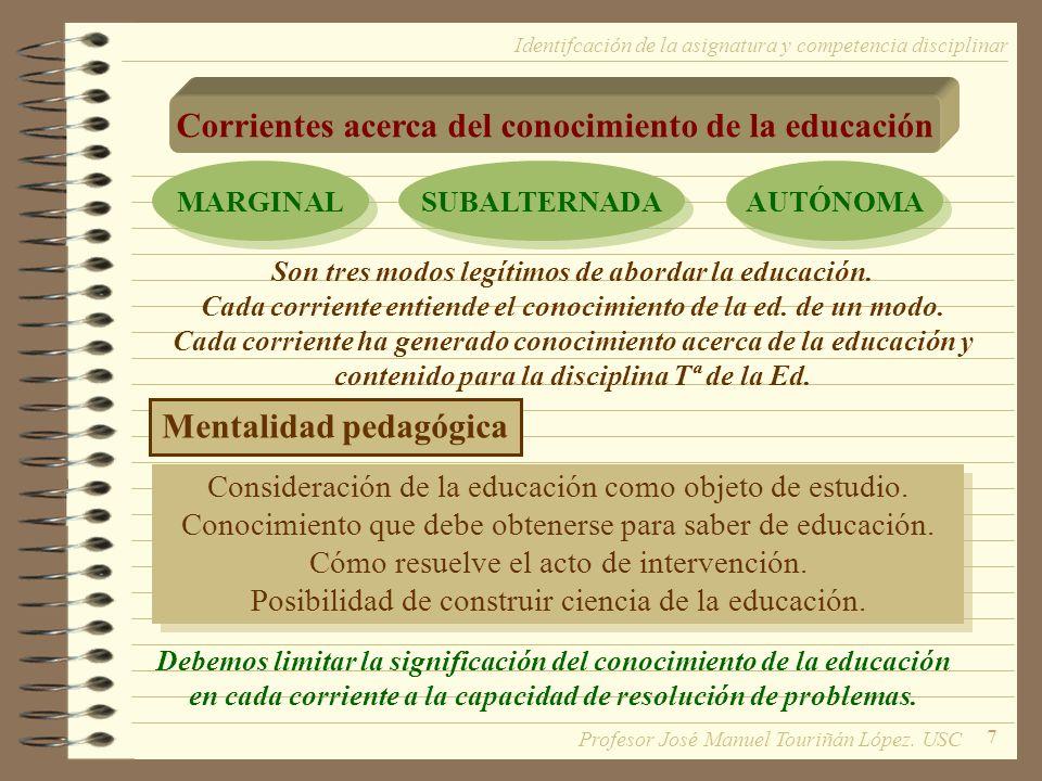 7 Corrientes acerca del conocimiento de la educación MARGINAL SUBALTERNADA AUTÓNOMA Identifcación de la asignatura y competencia disciplinar Son tres modos legítimos de abordar la educación.