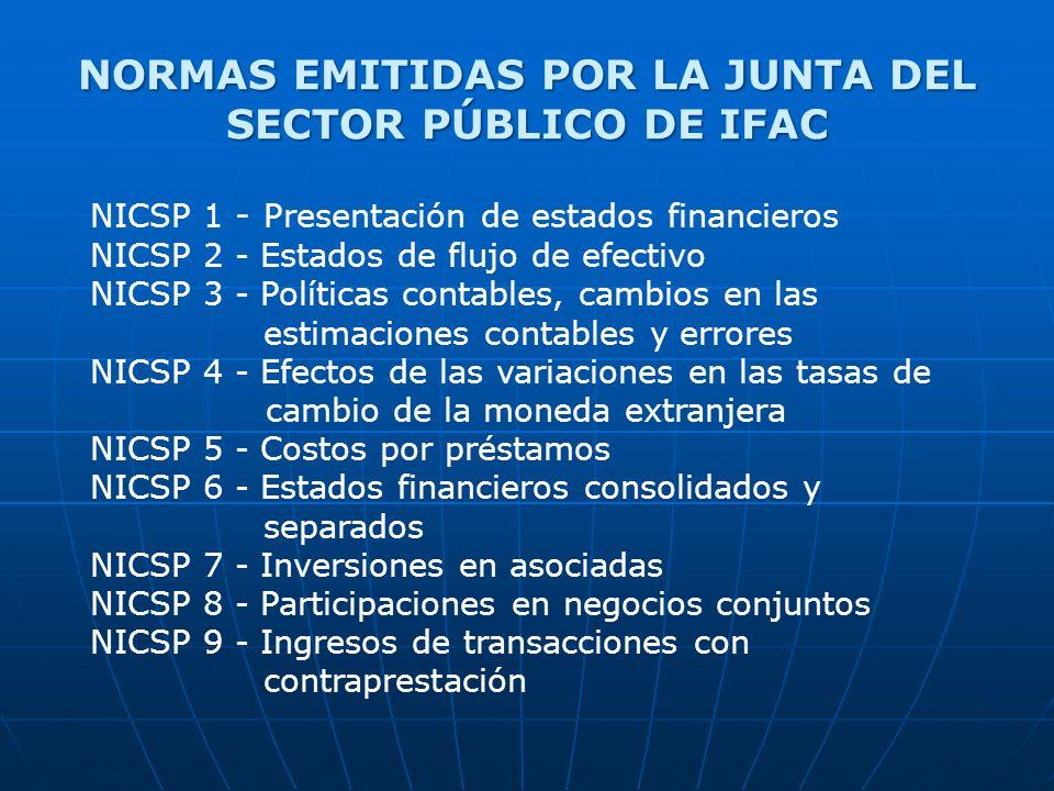 NORMAS EMITIDAS POR LA JUNTA DEL SECTOR PÚBLICO DE IFAC NICSP 1 - Presentación de estados financieros NICSP 2 - Estados de flujo de efectivo NICSP 3 - Políticas contables, cambios en las estimaciones contables y errores NICSP 4 - Efectos de las variaciones en las tasas de cambio de la moneda extranjera NICSP 5 - Costos por préstamos NICSP 6 - Estados financieros consolidados y separados NICSP 7 - Inversiones en asociadas NICSP 8 - Participaciones en negocios conjuntos NICSP 9 - Ingresos de transacciones con contraprestación