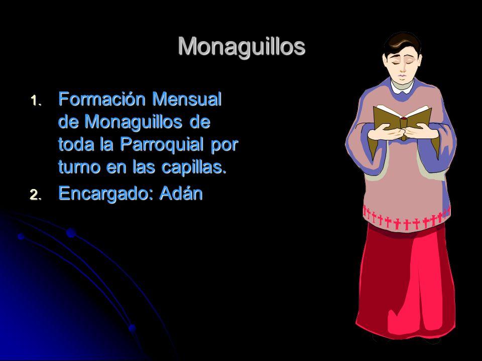 Monaguillos 1. Formación Mensual de Monaguillos de toda la Parroquial por turno en las capillas. 2. Encargado: Adán