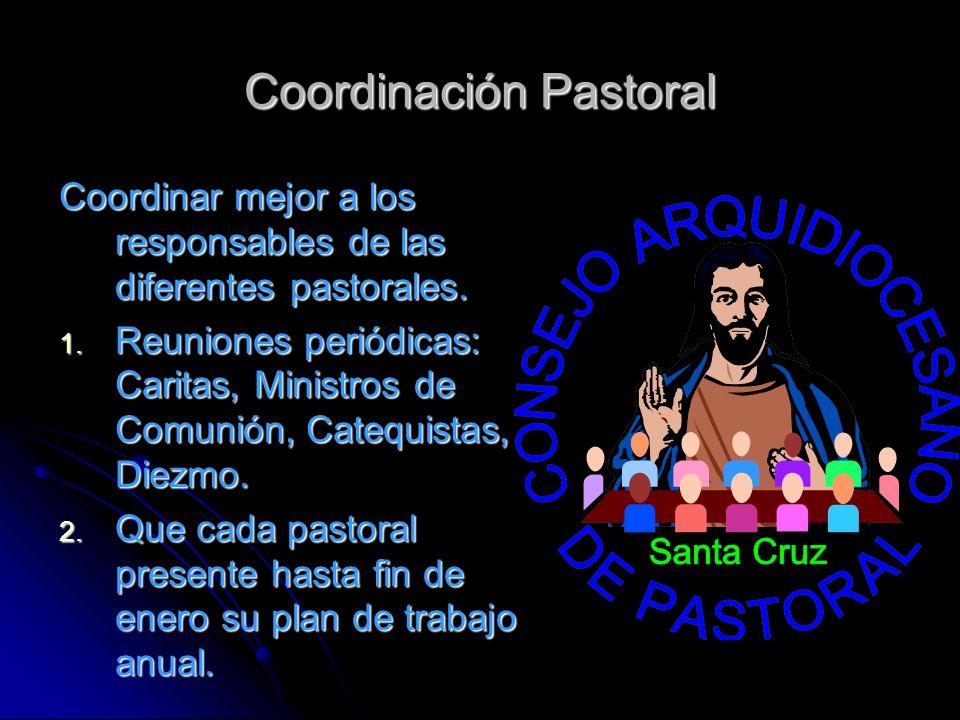 Coordinación Pastoral Coordinar mejor a los responsables de las diferentes pastorales. 1. Reuniones periódicas: Caritas, Ministros de Comunión, Catequ