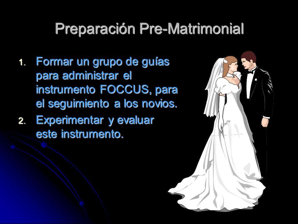 Preparación Pre-Matrimonial 1. Formar un grupo de guías para administrar el instrumento FOCCUS, para el seguimiento a los novios. 2. Experimentar y ev