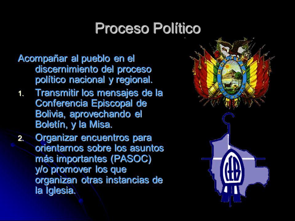 Proceso Político Acompañar al pueblo en el discernimiento del proceso político nacional y regional. 1. Transmitir los mensajes de la Conferencia Episc