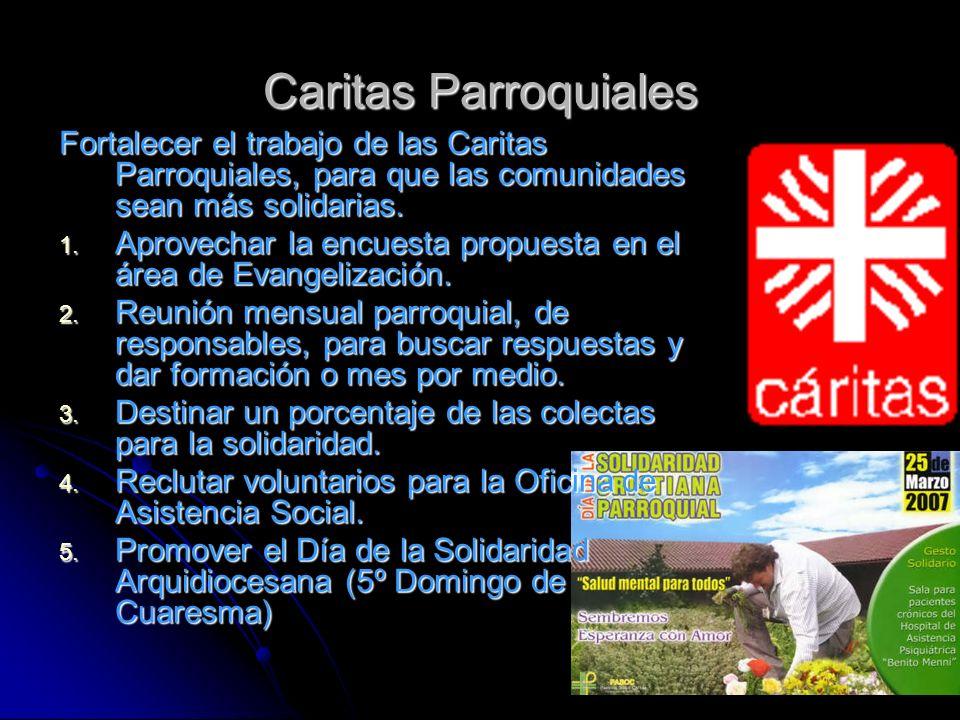 Caritas Parroquiales Fortalecer el trabajo de las Caritas Parroquiales, para que las comunidades sean más solidarias. 1. Aprovechar la encuesta propue