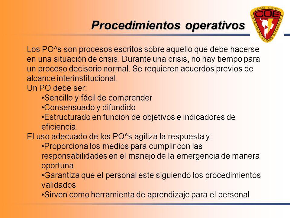 Procedimientos operativos Los PO^s son procesos escritos sobre aquello que debe hacerse en una situación de crisis. Durante una crisis, no hay tiempo