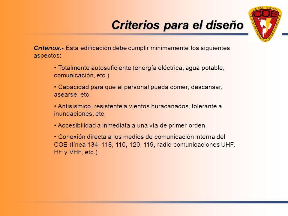 Criterios para el diseño Criterios.- Criterios.- Esta edificación debe cumplir minimamente los siguientes aspectos: Totalmente autosuficiente (energía