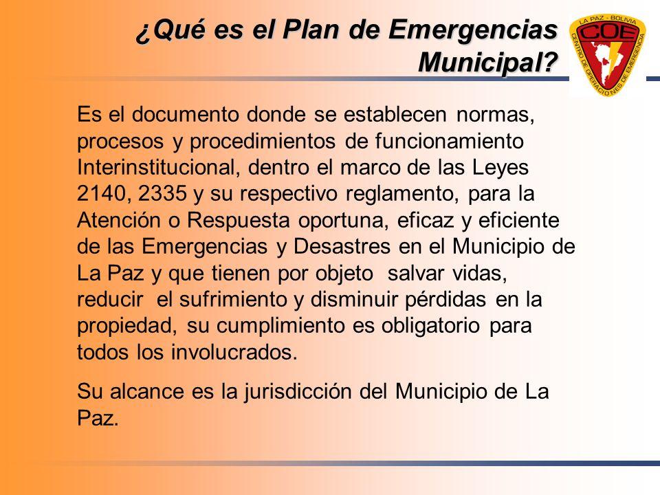 ¿Qué es el Plan de Emergencias Municipal? Es el documento donde se establecen normas, procesos y procedimientos de funcionamiento Interinstitucional,