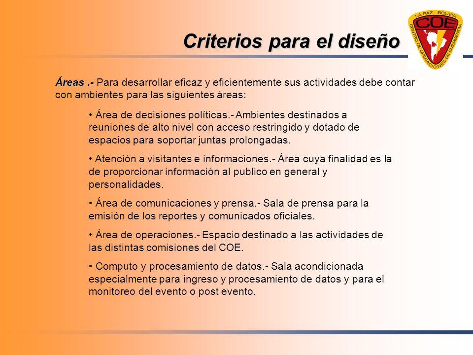 Criterios para el diseño Áreas.- Áreas.- Para desarrollar eficaz y eficientemente sus actividades debe contar con ambientes para las siguientes áreas: