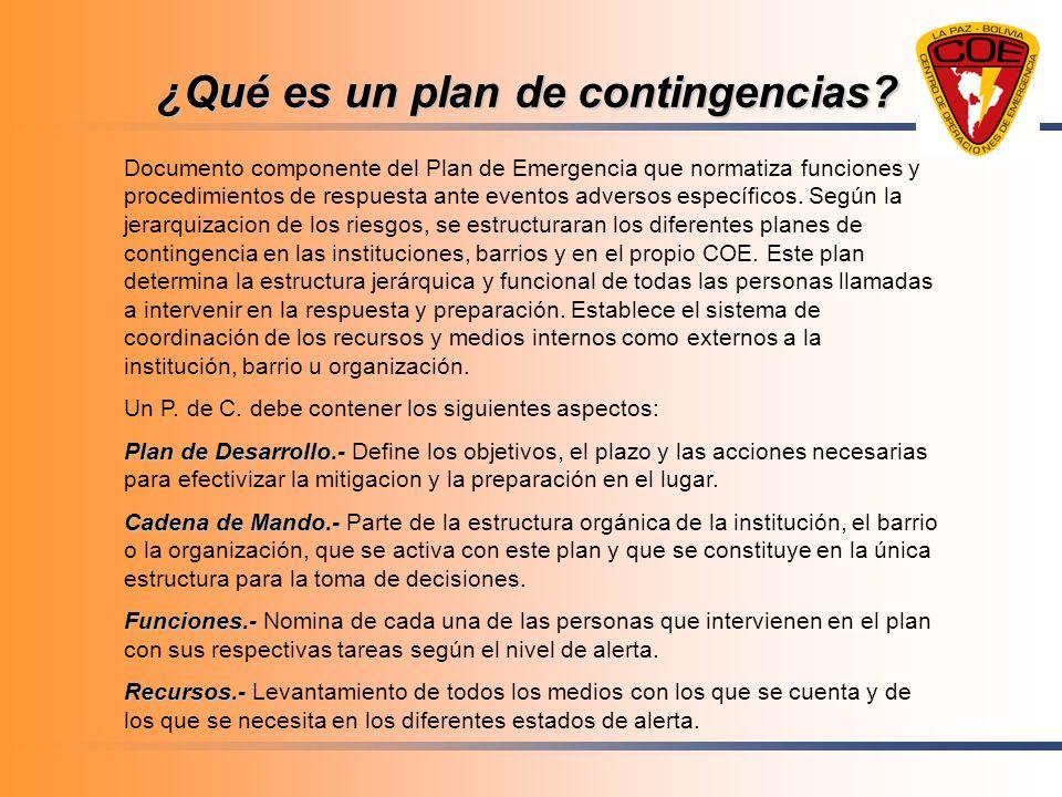 ¿Qué es un plan de contingencias? Documento componente del Plan de Emergencia que normatiza funciones y procedimientos de respuesta ante eventos adver