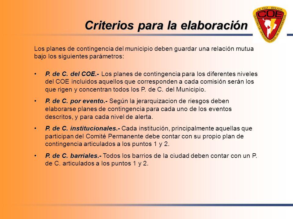 Criterios para la elaboración Los planes de contingencia del municipio deben guardar una relación mutua bajo los siguientes parámetros: P. de C. del C