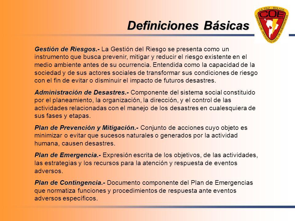 Definiciones Básicas Gestión de Riesgos.- Gestión de Riesgos.- La Gestión del Riesgo se presenta como un instrumento que busca prevenir, mitigar y red