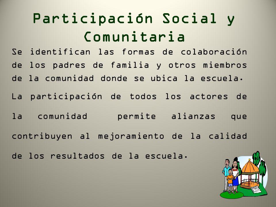 Participación Social y Comunitaria Se identifican las formas de colaboración de los padres de familia y otros miembros de la comunidad donde se ubica