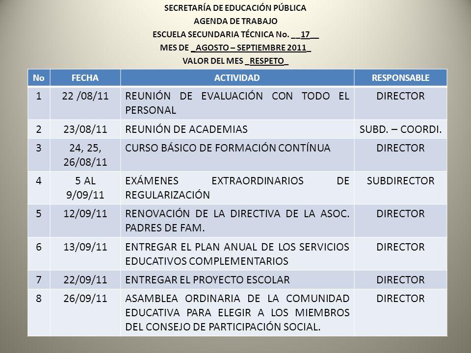SECRETARÍA DE EDUCACIÓN PÚBLICA AGENDA DE TRABAJO ESCUELA SECUNDARIA TÉCNICA No. __17__ MES DE _AGOSTO – SEPTIEMBRE 2011_ VALOR DEL MES _RESPETO_ NoFE