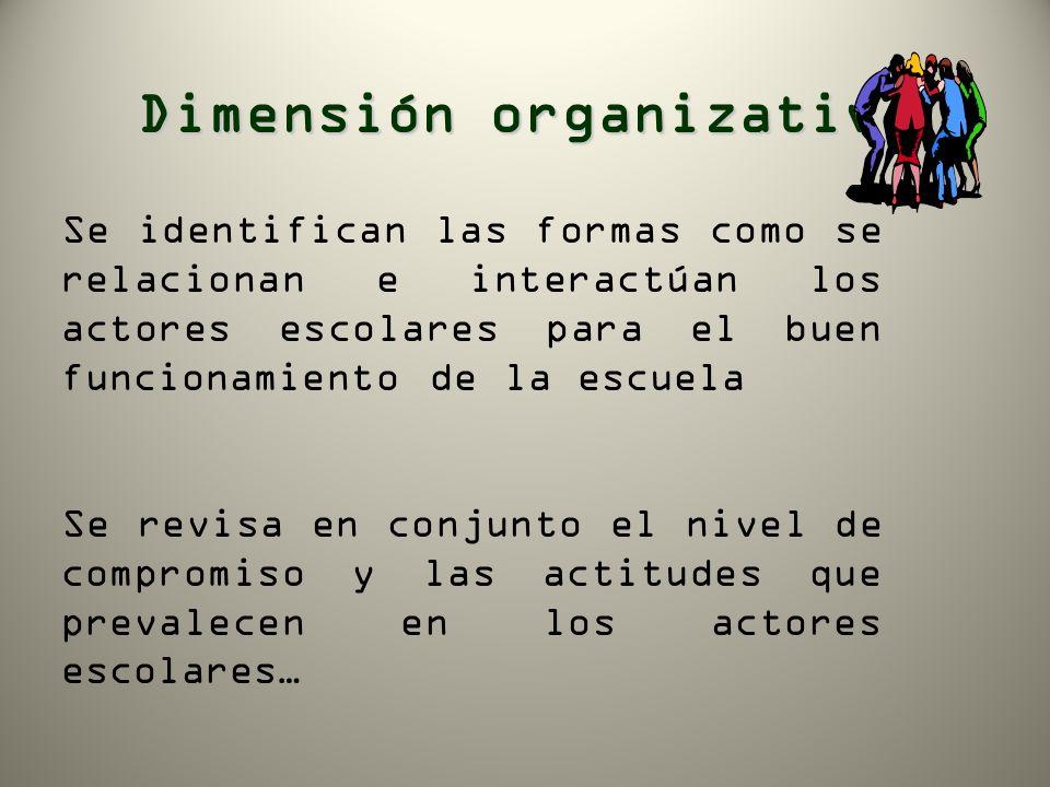 Dimensión organizativa Se identifican las formas como se relacionan e interactúan los actores escolares para el buen funcionamiento de la escuela Se r