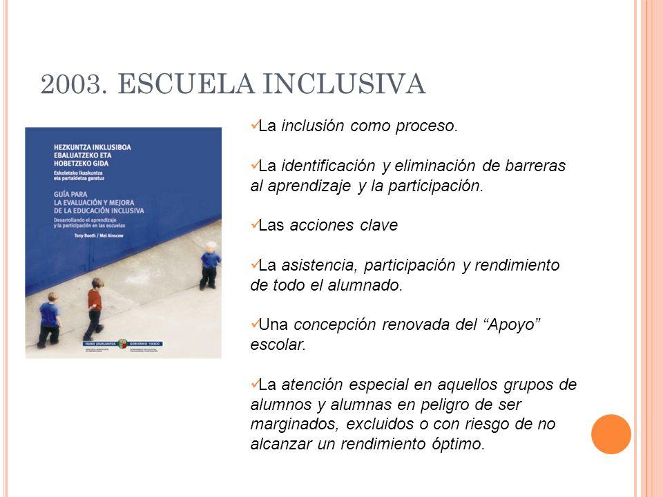 2003. ESCUELA INCLUSIVA La inclusión como proceso. La identificación y eliminación de barreras al aprendizaje y la participación. Las acciones clave L