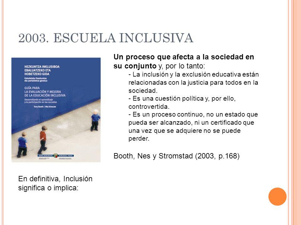 2003. ESCUELA INCLUSIVA Un proceso que afecta a la sociedad en su conjunto y, por lo tanto: - La inclusión y la exclusión educativa están relacionadas