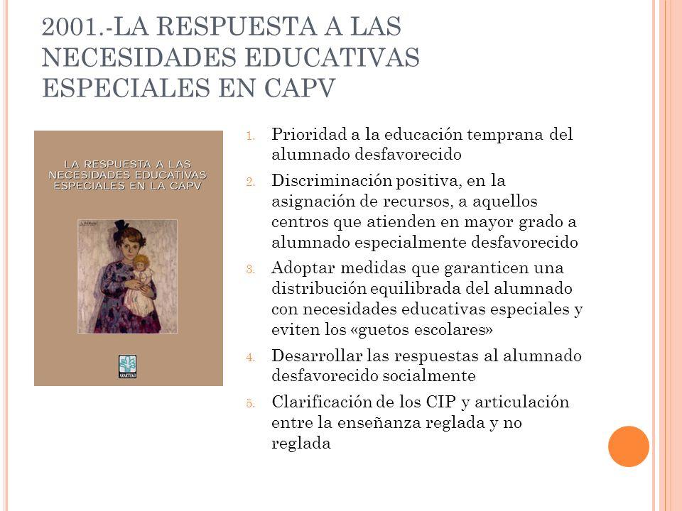 2001.-LA RESPUESTA A LAS NECESIDADES EDUCATIVAS ESPECIALES EN CAPV 1. Prioridad a la educación temprana del alumnado desfavorecido 2. Discriminación p